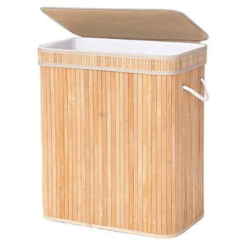 SONGMICS Cesto para Ropa con tapa y asas. 100 L, Color de Bambú
