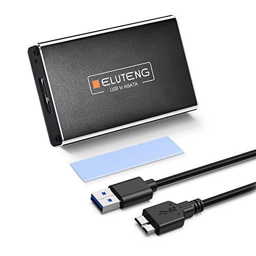 ELUTENG MSATA to USB3.0 ケース 5gbps 高速データ転送 MSATA SSDケースアルミ合金製 MSATA USB 変換 外付け ドライブケース 30x30 / 30×50mm 超小型 MSATA ケース USBケーブル付き