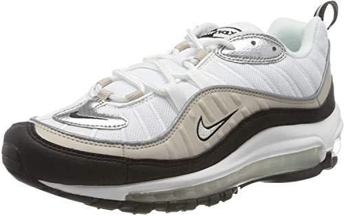 Nike W Air MAX 98, Zapatillas para Correr Mujer, White Metallic Silver Desert Sand Black, 44.5 EU