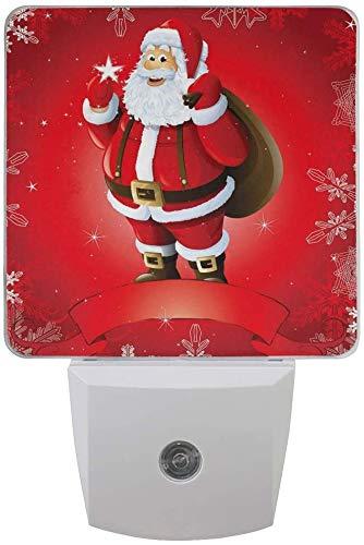 1 paquete rojo con diseño navideño de Papá Noel, copo de nieve, luz LED nocturna de crepuscular al amanecer, sensor de enchufe nocturno, decoración para la casa, lámpara de mesa para adultos.