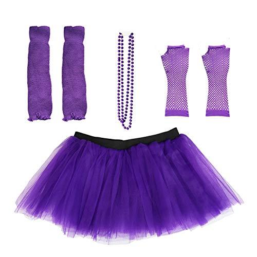 Dreamdanceworks 80s Fancy Costume Set – Tutu & Leg Purple