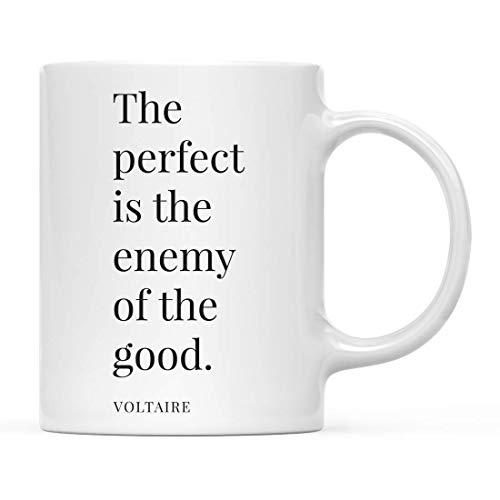Cadeau de tasse de café de citation inspirante de motivation, le parfait est l'ennemi du bien. - Voltaire, lot de 1, remise des diplômes d'anniversaire de Noël pour lui, boîte-cadeau incluse
