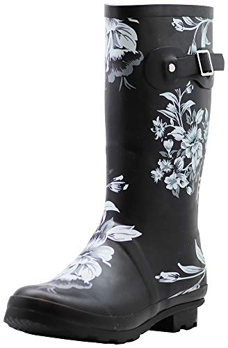 NORTY - Womens Hurricane Wellie Gloss Mid-Calf Paw Printed Rain Boot, Navy 39697-8B(M) US