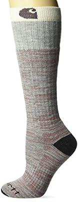 Carhartt Women's Knee High with Outdoor Scene Socks, heather gray, Shoe Size: 5.5-11.5
