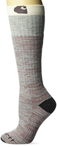 Carhartt womens Knee High With Outdoor Scene Casual Sock, Heather Gray, Shoe Size 5-12 US