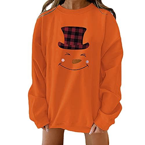 Christmas Shirts for Women Crewneck Sweatshirts Long Sleeve Tops Cute Christmas Snowman Print Pullover Tunic Blouse Orange