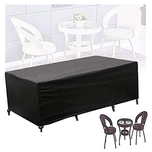 Fundas de ratán para muebles, rectangular, para mesa, para exteriores, para protección de mesa y silla, tela Oxford antienvejecimiento a prueba de viento, 30 tamaños, personalizable (Color: Negro, Tam
