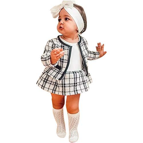 1-6 Años,SO-buts Pequeños Bebés Niñas Abrigos a Cuadros De Estilo Occidental Chaqueta Falda Suéter De Ganchillo De Punto Ropa Conjunto, Trajes De Niña Invierno