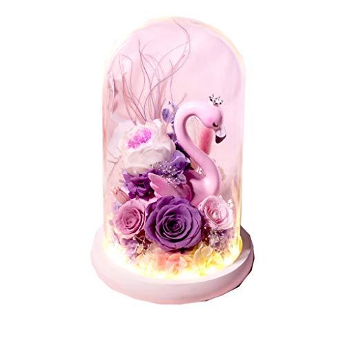 LZL Rosa preservada Flamingo conservado Flor Regalo Caja conservada Real Rosa Mejor Amigo Novia día de San Valentin cumpleaños Navidad Caja de Regalo Rosa eterna (Color : A)