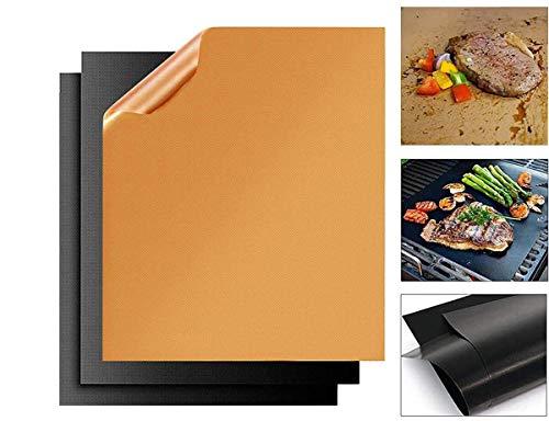 Zibnwee BBQ Grillmatte, Backpapier 3er Set, Grillmatte Backmatte für Gasgrill und Holzkohle, Wiederverwendbar Antihaft Grillmatten Backmatte FDA Zugelassen, 40 x 33 cm