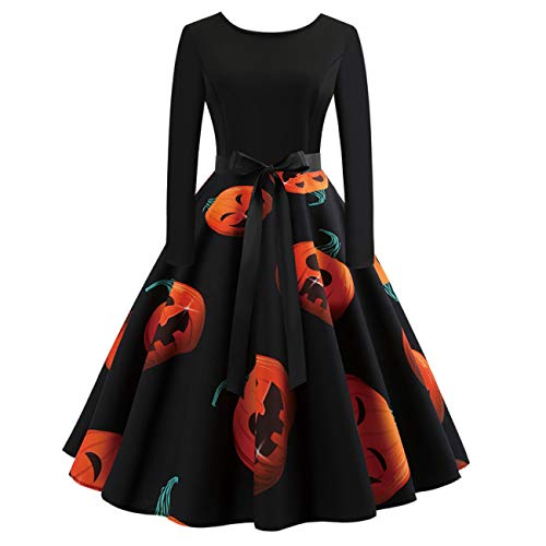 ERFD&GRF Kostüm Damen Halloween Party Ärmelloses Spitzenkleid A Line Pumpkin Swing Dress, CY7768B, S
