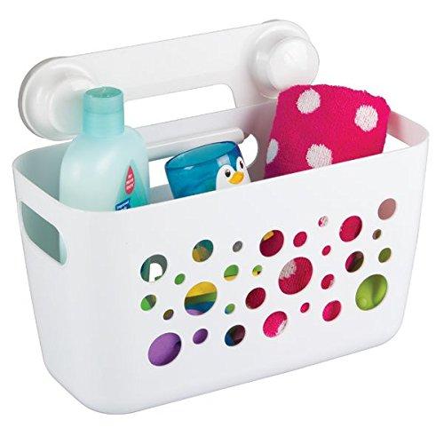 Cesto organizador de baño mDesign color blanco con ventosas - Material resistente - Perfecto para el almacenamiento de productos como champú y cremas