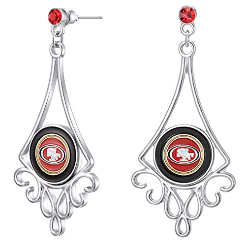 Pro Specialties Group NFL San Francisco 49ers Diamond Floral Post Earrings, Silver, 1 x 2 1/4 (0.25 Post Earrings)