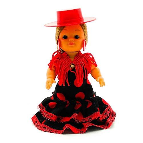 Folk Artesanía Muñeca artesana de 15 cm con Vestido Regional típico Andaluza Sombrero Cordobesa (Negro Lunar Rojo)