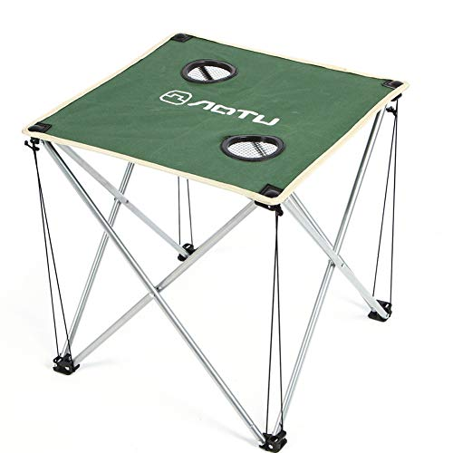 CQ Table De Pique-Nique Extérieure Moderne Camping Portable Alliage D'Aluminium Table Pliante Imperméable Tissu Oxford Durable Ultra Légère,Green