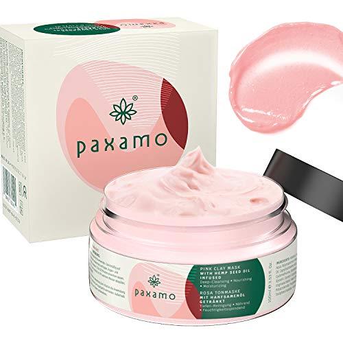 PAXAMO Mascarilla de arcilla rosa, mascarilla facial hidratante, nutritiva y de limpieza profunda de poros para pieles grasas, opacas y sensibles - 2020 El mejor limpiador exfoliante