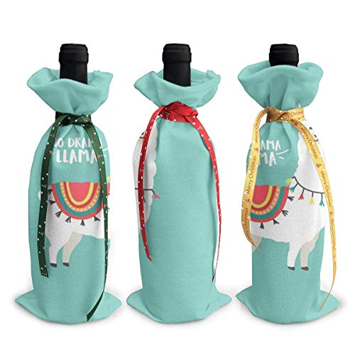 3pcs Wine Bottle Cover Bags,No Drama Llama Wine Bottle Sets Drawstring for Wedding,Party Favors,Christmas,Holiday
