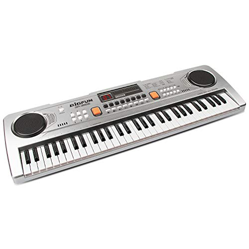aPerfectLife 61 Keys Kids Keyboard Multifunction Portable Piano Electronic Keyboard Music Instrument for Kids Early Learning Educational Toy (Silver)