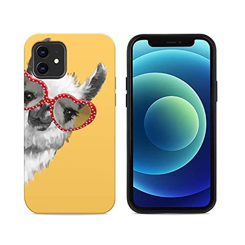 Funda de madera personalizada para teléfono compatible con iPhone 12 o 12 Pro, funda protectora a prueba de golpes, ajuste delgado, para hombres y mujeres (moda Hipster Llama con gafas)