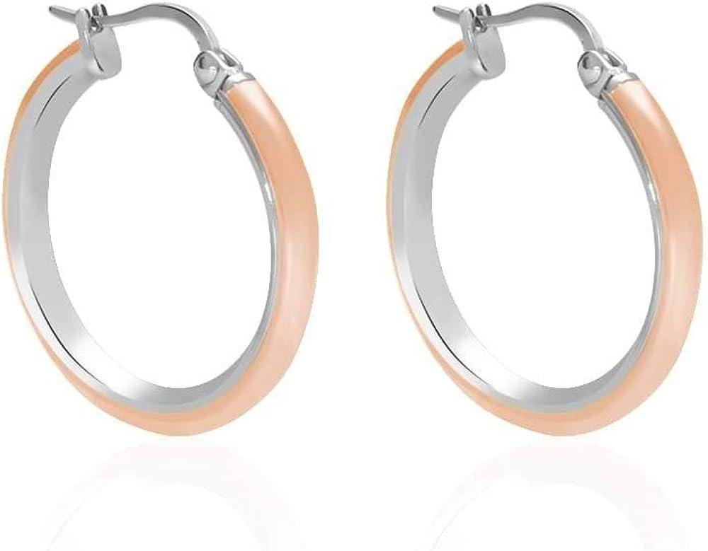 Stroili  per donna orecchini a cerchio in acciaio bicolore rosato e rodiato 1664555