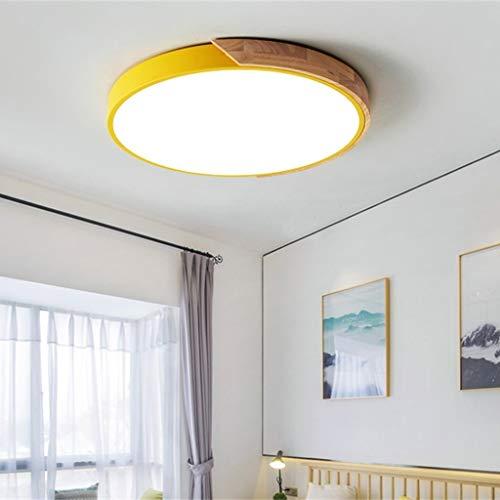 GaLon Led-plafondlamp, eenvoudig en modern, met afstandsbediening, traploos dimmen, woonkamerlamp kinderkamer, ronde lamp, werkkamer, slaapkamerlamp, houten plafondlamp, energieklasse A +