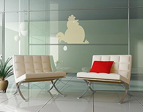 Sticker fenêtre no.UL895 Fat Hen Sitting Idle, Druck WunschCouleur 1 Smaragd;Druck WunschCouleur 2 Ocker;Taille 90cm x 92cm
