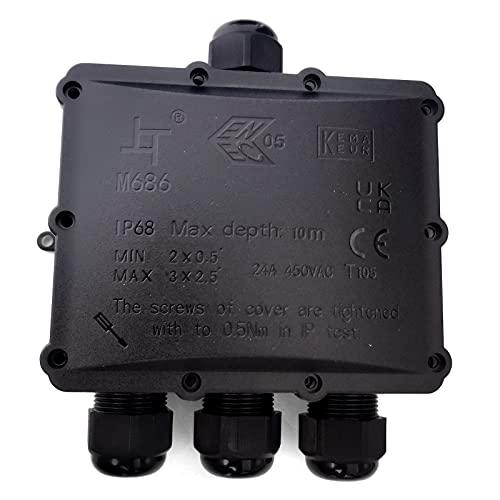 HAUSPROFI Abzweigdose, Verbindungsdose, Junction Box, IP68 Wasserdichte Verteilerdose,Ø 4mm-14mm, 4 Wege,ABS + PVC