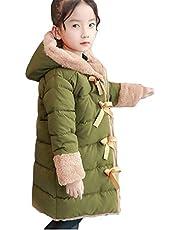 [ジャング] 子供服 女の子 中綿コート ロング丈 裏起毛 フード付き キッズ アウター 厚手 防寒コート 通園 通学