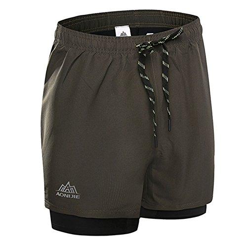 Lintimes Men 's Training 2 - en - 1 Corta Pant Transpirable de Secado rápido para la formacion Deportiva Running Ciclismo Gimnasio Ejército Verde XXL
