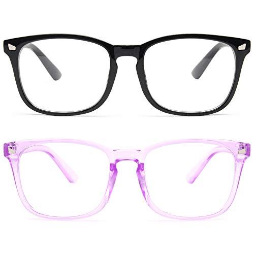livho 2 Pack Blue Light Blocking Glasses, Computer Reading/Gaming/TV/Phones Glasses for Women Men,Anti Eyestrain & UV Glare(Light Blcak+Clear Purple)