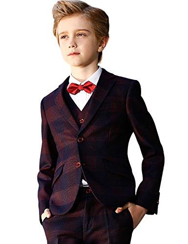 ELPA ELPA Boys Fasion Suits Childrens Wave Point Slim Fit Suit 6 Pieces for Festival Show Performance