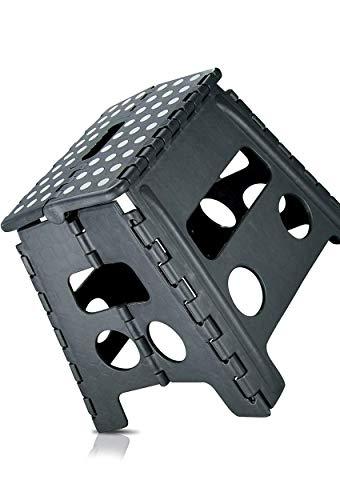 SHD XL Stabiler Hocker Klapphocker Tritthocker 150kg Tritt - 37 x 30 x 32 cm, Rutschfest - Klapptritt für Küche, Bad für Kinder Erwachsene (grau)
