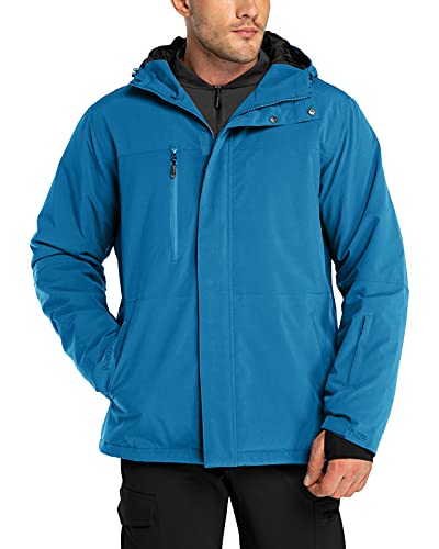 33000ft Skijacke Herren Warme Outdoorjacke Wasserdicht Winddicht Winterjacke Funktionsjacke Atmungsaktiv Snowboardjacke Softshell jacke mit Kapuze Blau M