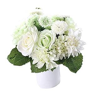 Silk Flower Arrangements Bringsine Bridal Wedding Bouquet Flower Arrangement Home Decorative Artificial Silk- Rose, Daisy, Dahlia, Decoration, Bunch Hotel Party Garden Floral-White&Green