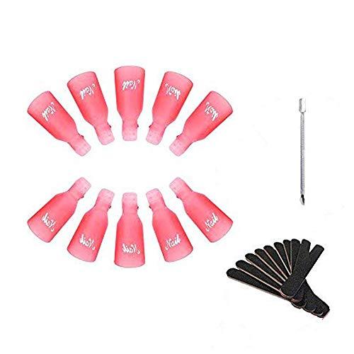 Neonfarben 10 Stück Kunststoff-Nagel-Kunst tränken weg Cap Clip UV Gel Polish Remover Wrap-Werkzeug und 1 Stück Nagelhaut Schieber und 10 Nagelfeile Streifen