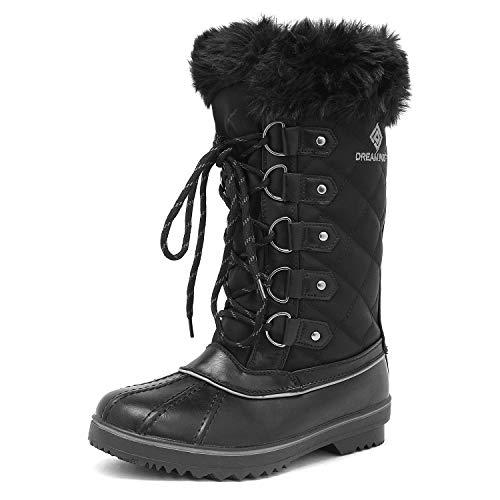 DREAM PAIRS Women's River_1 Black Mid Calf Winter Snow Boots Size 8 M US