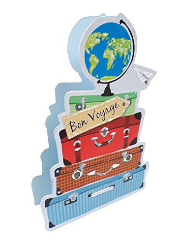 Paper Dazzle Bon Voyage Suitcases 3D Greeting Card Glitter Finished PDZ035