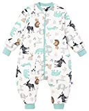 Chilsuessy Saco de dormir de invierno para bebé con pies, para todo el año, con manga larga extraíble, animales/3,5 tog, 100/bebé, altura 110-120 cm