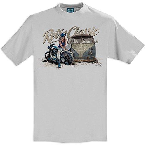 RetroClassic Retro Rat Classic Aircooled Bus & Custom Triumph Bonneville Styled Motorcycle Mens T-Shirt Pacific Grey