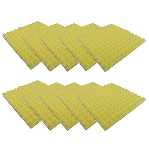10PCS Akoestisch Geluiddicht Schuim Geluidsabsorptie Behandeling Paneel Tegelwig Beschermende Spons, geel, Verenigde Staten