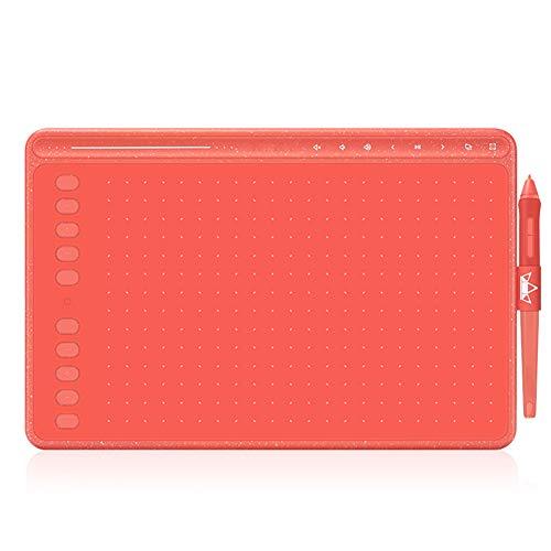 LIPETLI Tableta de Dibujo Hs611 Tableta GráFica sin BateríA Soporte de InclinacióN de Tres Colores Barra TáCtil y Teclas Express,Rojo