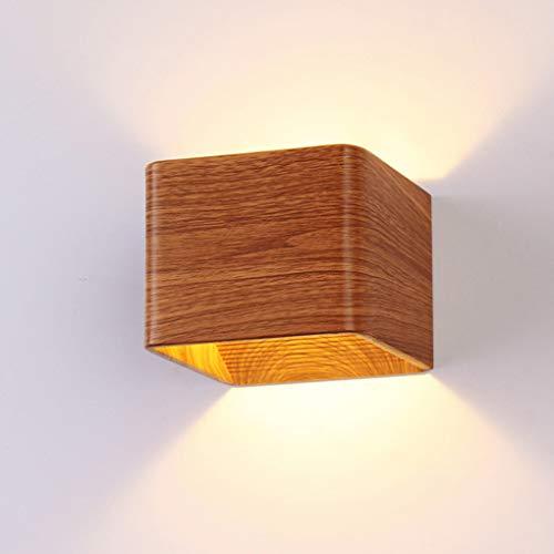 LED wandlamp aluminium wandlamp met Up Down lichteffect Modern design vloerlamp interieur wandverlichting hout decoratieve bedlamp voor woonkamer slaapkamer trappenhuis, 3W warmwit indirect licht