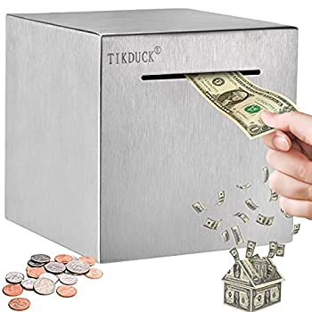 Tikduck Unbreakable Metal Piggy Bank Made of 1mm Thick Stainless Steel Safe for Adults Kids Personal Money Coin Only Savings Box All Sides Closed(5.9 X5.9 X5.9 )