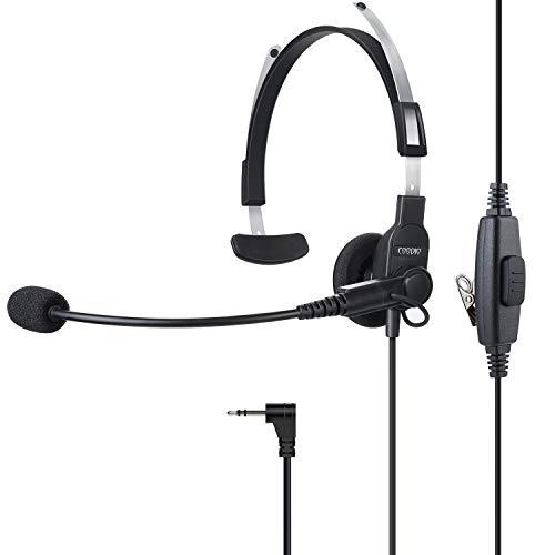 COODIO 1-Pin Motorola Auriculares Auricular [Boom Micrófono] Headset [Altavoz de Audio Superior] Seguridad y Bodyguard para Motorola Talkabout Radio
