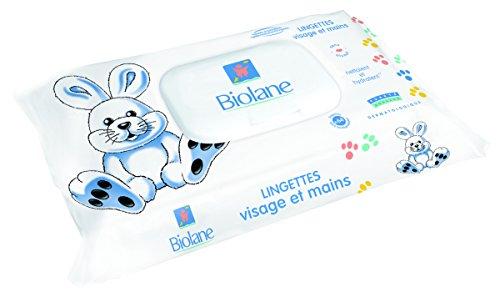 Biolane - Lingettes Visage et Mains pour bébé - Lingettes ultra-douces pour l'hygiène quotidienne du bébé - 64 lingettes