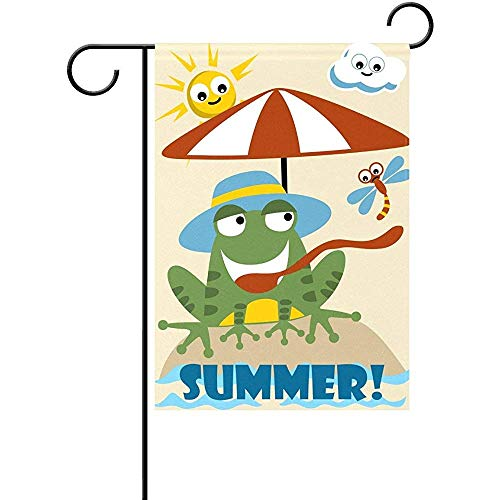 KL Decor Outdoor Yard Flag,Cartoon Hoed Kikker In De Zomer Strand Kleurplaten Dragonfly Sun Shine Cloud Verticale Polyester Familie Vlaggen Voor Thuis Welkom Decoratie