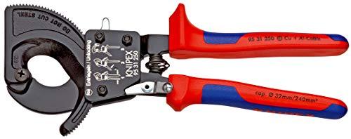 KNIPEX 95 31 250 Kabelschneider (Ratschenprinzip) mit Mehrkomponenten-Hüllen 250 mm