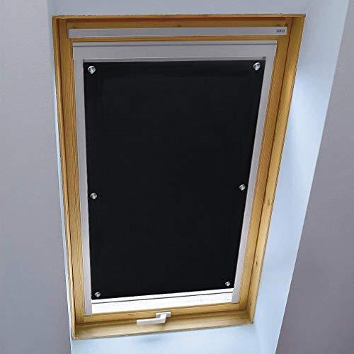 iKINLO Thermo Sonnenschutz Dachfensterrollo für Velux Dachfenster M08 und 308 ohne Bohren Verdunklungsrollo Rollo UV Schutz mit Saugnäpfe, Schwarz 60 x 115 cm