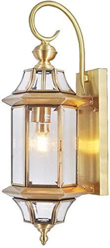 Lámpara de pared Retro Aplique, Antiguo oro luces de pared de cobre muele al aire libre / de interior lámpara de pared rústica transparente pantalla de cristal europeo estilo patio cuarto de baño sala