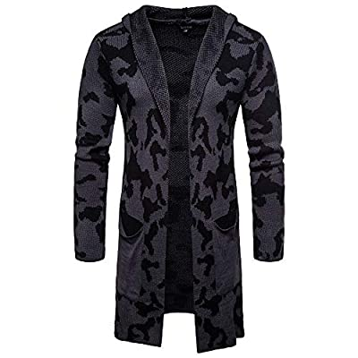 Men's Hooded Solid Knit Camouflage Coat Jacket Cardigan Long Sleeve Tops Blouse